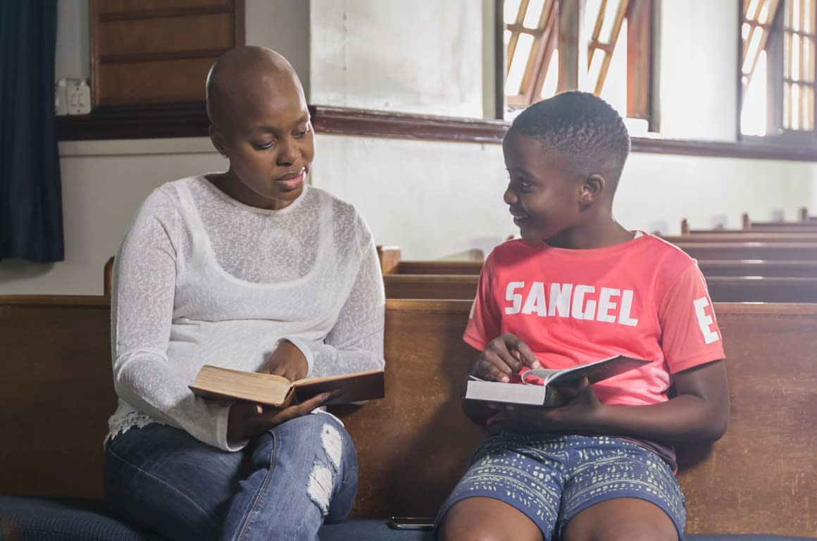 Leukaemia Awareness Campaign - Behind The Scenes - Cancer Patient Mother and Son in Church Reading Bible