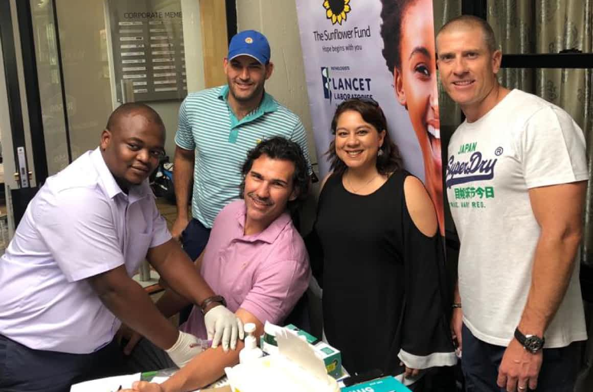 Leukaemia Awareness Campaign - The Sunflower Fund Team Doing Blood Tests with South African Sportsmen