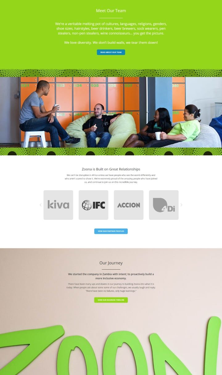 Website Design for African Fintech Startup Zoona - About Us Page UI Showcase