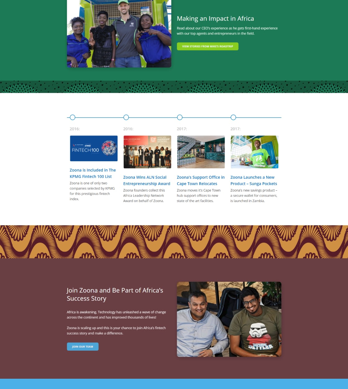 Website Design for African Fintech Startup Zoona - Business History Page UI Showcase