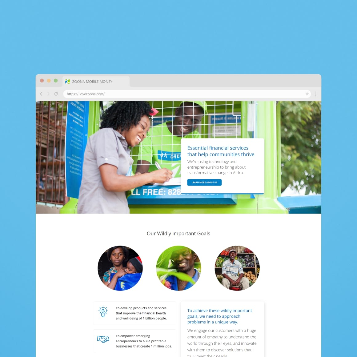 Website Design for African Fintech Startup Zoona - Home Page UI