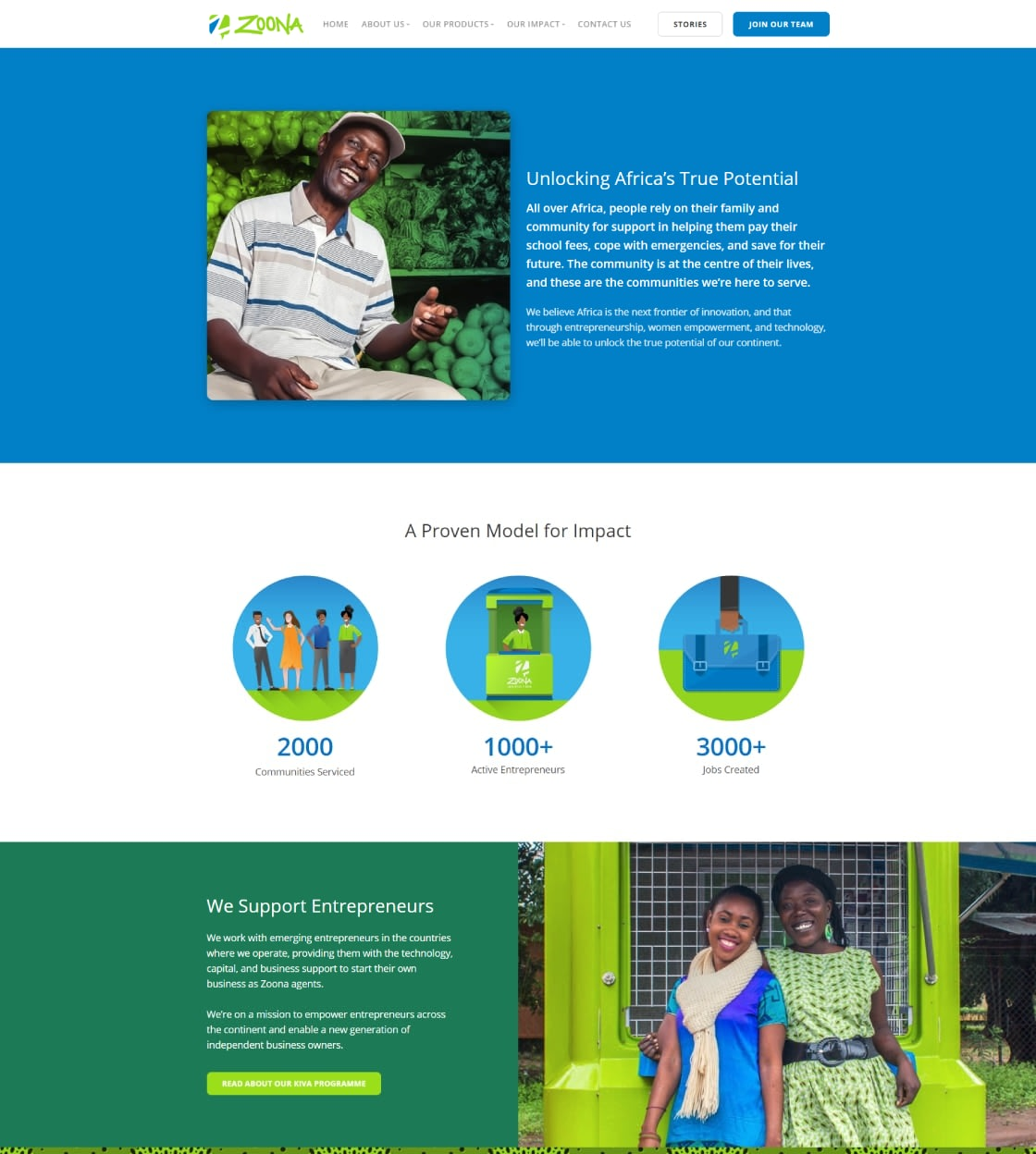 Website Design for African Fintech Startup Zoona - Impact Page UI Showcase