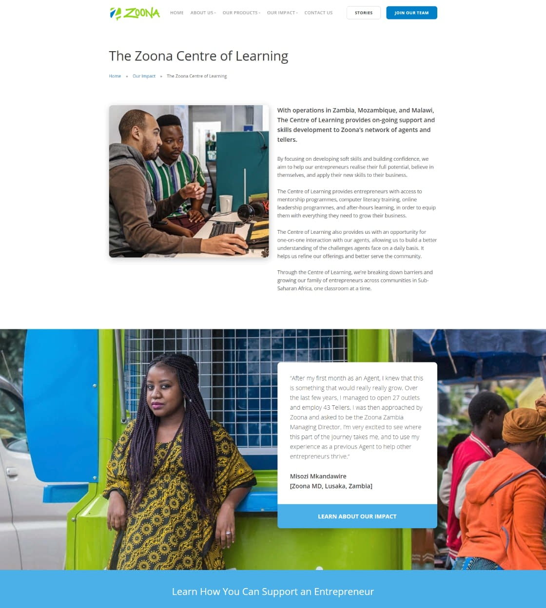 Website Design for African Fintech Startup Zoona - Learning Centre Page UI Showcase