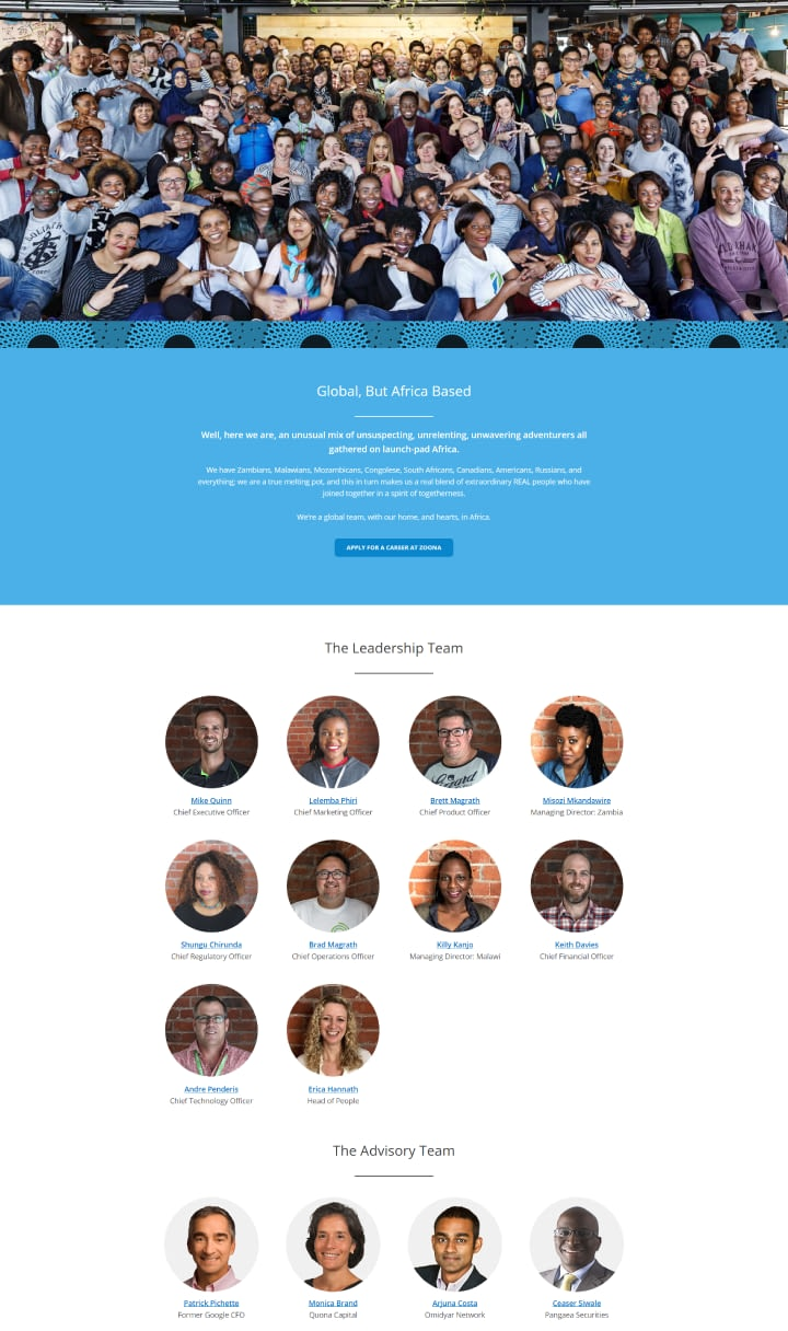 Website Design for African Fintech Startup Zoona - Leadership Team Page UI Showcase