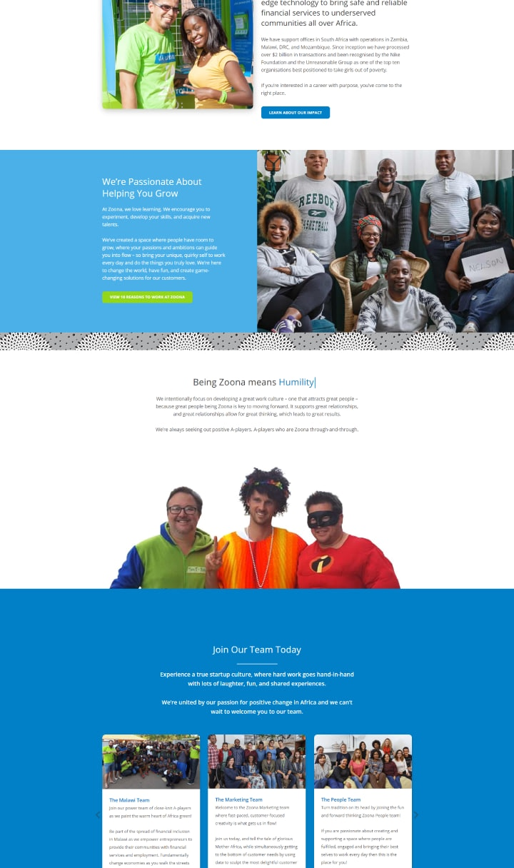 Website Design for African Fintech Startup Zoona - Team Culture Page UI Showcase