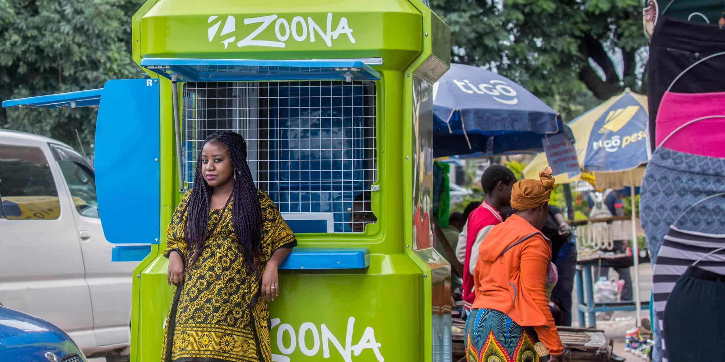 Photo of a Zoona Mobile Money Booth in Zambia