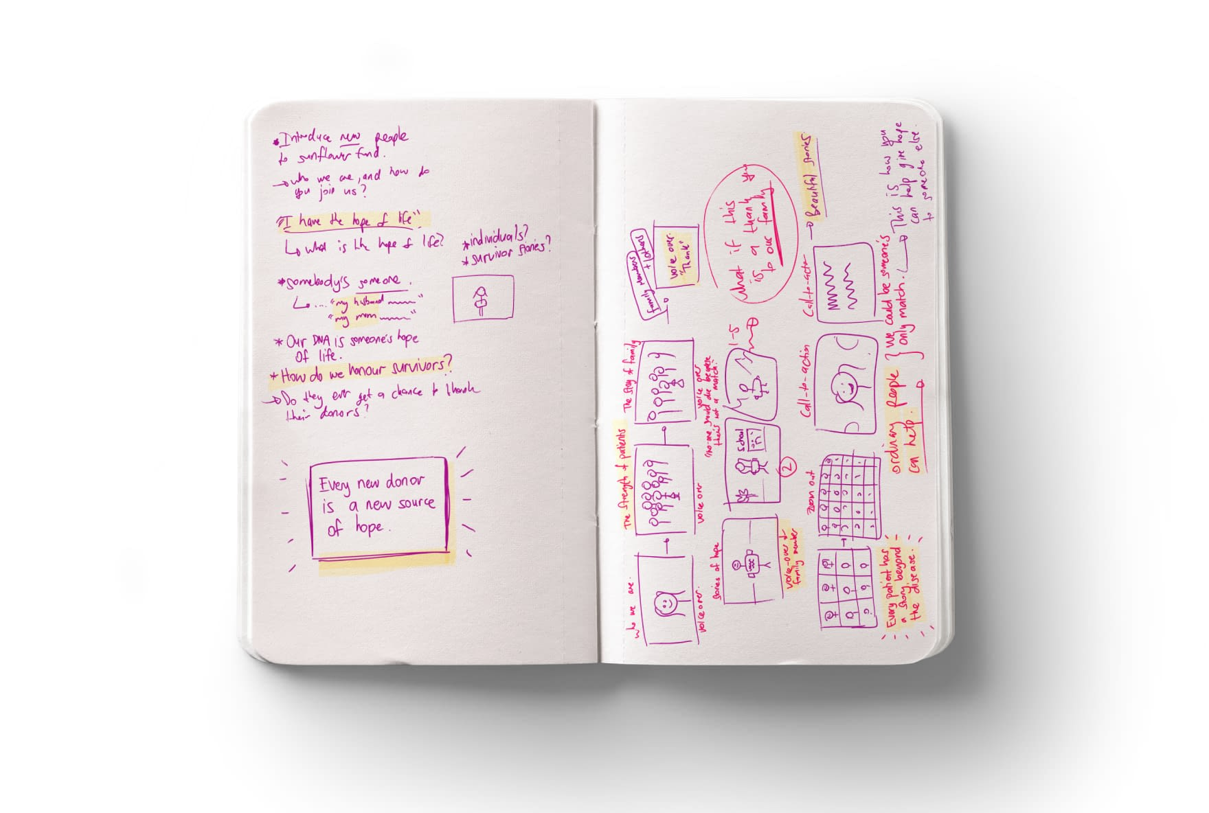 Photo of Notebook with Awareness Campaign Storyboard and Script Notes